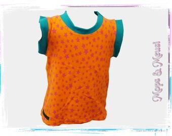 T-shirt top 104 / 110 orange turquoise stars