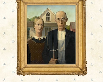 American Gothic, Grant Wood  1930.Painting icon, American masterpiece, Wall Art, Giclee print, Large format poster print.