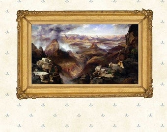 Grand Canyon of the Colorado River, 1892 by Thomas Moran.Landscape painting, American art print, Wall Art Decoration, Giclee replica