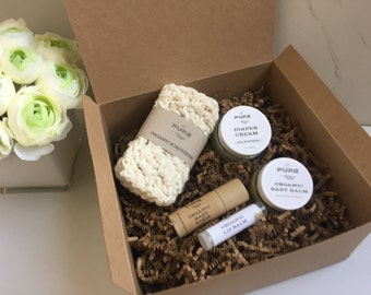 Organic New Baby Gift Set / all natural / diaper cream / baby salve / no chemicals / coconut oil / calendula / shea butter / shower gift