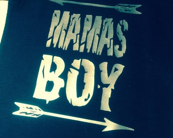 Navy and silver Mama's Boy T-Shirt