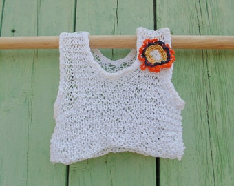 White crochet with flower top for 6-year-old girl