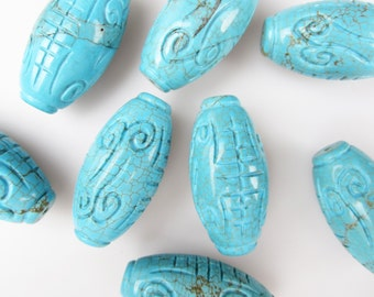 Beautiful Turquoise Carving Oliver Shape Bead 25x50mm Sold by Piece.I-TUR-0109
