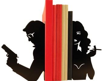"Pair of large black bookends ""Cinéma Couple"""
