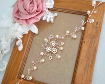 Rose Gold Bridal Headpiece, Rose Gold Wedding Hair Vine, Crystal and Pearl Wedding Hair Piece, Pearl Hair Vine, Rose Gold Hair Vine - ROSA