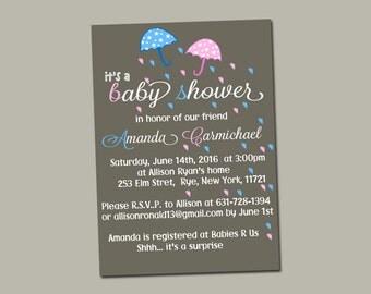 Umbrella baby shower invitation