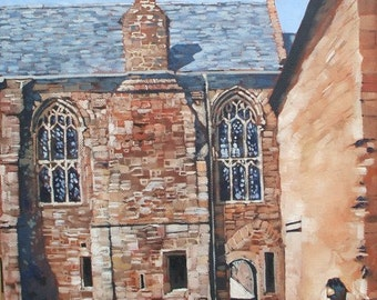 Cleeve Abbey architectural oil painting