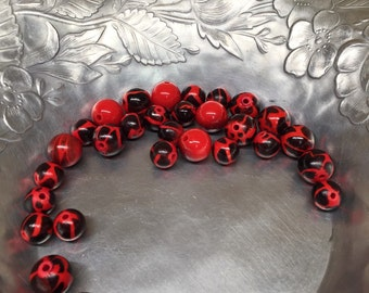 Black and red acrylic beads