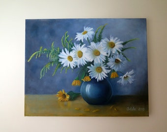 "Original Oil Painting. ""Daisies""."
