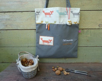 tote bag grey Fox orange for adult or child