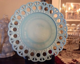 Antique blue milk glass latticed edge Plate Challinor Taylor Co