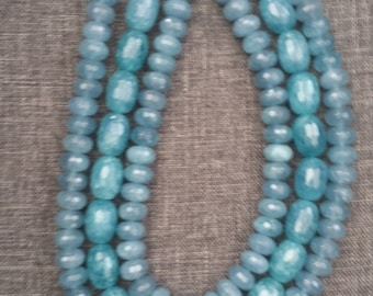 3 Strand Blue Quartz Necklace with Gold Vermeil Clasp