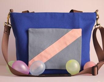 royal blue canvas, diaper bag //tote bag//messenger bag//patchwork//water resistant//zipper pocket