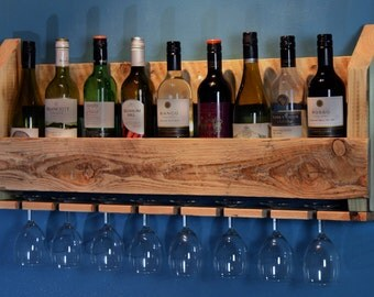 Hand Crafted Reclaimed Timber Wine and Glass Rack
