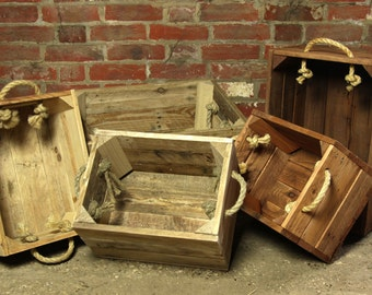 Wooden Crate with Rope Handles