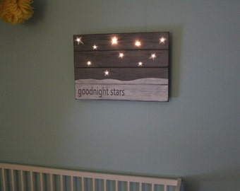 Unique Handmade Baby Shower Gift Goodnight Moon Hand Painted Distressed Lighted Sign Baby Room Kid's Room Wall Decor Nursery Decor