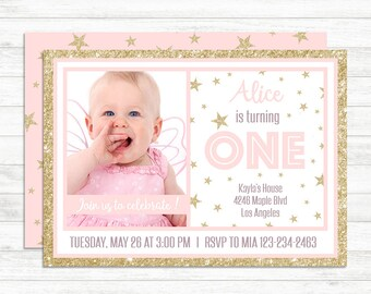 First Birthday Invitation Girl, Blush Pink And Gold Birthday Invitation, Baby Girl Photo Birthday Invitation, 1st Baby Birthday Decorations