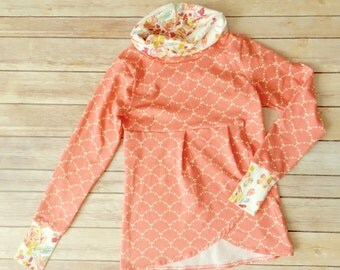 Girls Cowl-neck Top - Coral pink mermaid or fish scales - Floral thumb hole cuffs - Pleated with petal hem