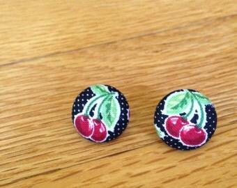 Cherry Button Earrings