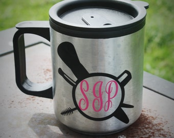 Monogram travel mug, makeup mug, travel mug, cute mug, funny mug, monogrammed mug, monogrammed cup, love makeup, Gift for her, initial cup