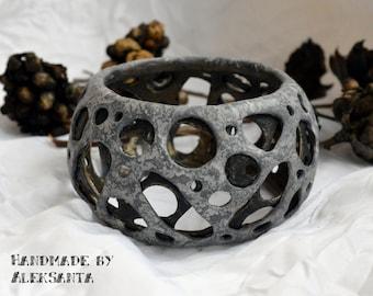 Gray hole bracelet Polymer clay bracelet Polymer clay jewelry Bangle bracelet Cuff bracelet Gray holey bangle Gray cuff Jewelry for women