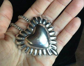 Large TAXCO Sterling Silver Puff Heart Pin Pendant Brooch for Necklace TG-89