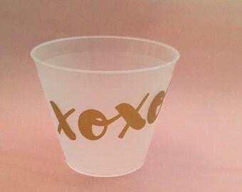 """Valentine's Bachelorette Party Cups """"Xoxo"""" (12)"""