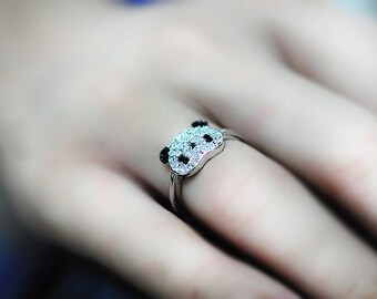 Cute Little Panda Rhinestone Embellished Ring