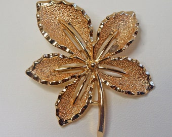 Vintage, Gold Tone, Leaf Brooch by Sarah Coventry (2422)