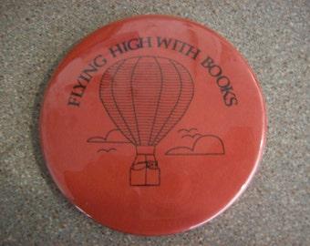 Vintage Library Book Reading Hot Air Balloon Pinback Button