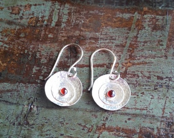 The Stacie. Handcrafted Sterling Silver Earrings with Garnet Cabachons.
