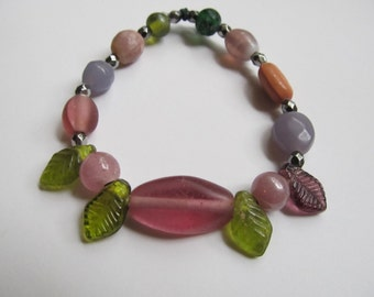 Beaded Bracelet with Dusty Rose and Leaves Original Jewelry
