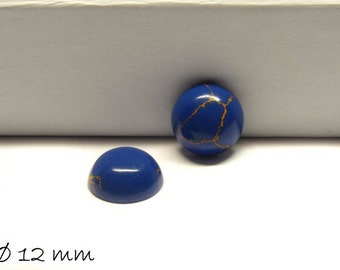 2 PCs cabochons, synthetic turquoise, 12 mm