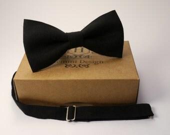 Black Linen Bow Tie For Wedding - Ceremony / Groomsmen / Men's / Boy's / Toddler's Black Linen Bow Tie