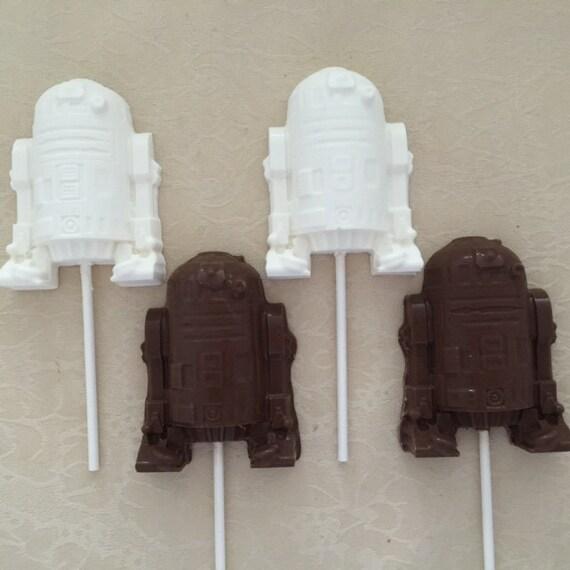 STAR WARS R2D2 Chocolate Lollipop (12 qty)-Star Wars/Birthday Party/Boys Birthday Party/Star Wars R2D2 Favors/Party Favor/R2D2/R2D2 Lollipop