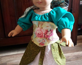 Traveling Gypsy 5-piece 18-inch doll costume/doll clothes. Skirt, overskirt, blouse, corset, scarf. OOAK.