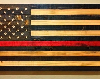 "United States American Flag Sign Honoring Fire Department Carved Reclaimed Up-cycled Wood-Measures 39"" x 19.5"" FREE SHIPPING"