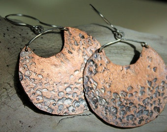 Large Copper Disc Artisan Earrings