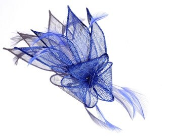 Intense Blue Fascinator 2 in1 Hair Clip and Brooch