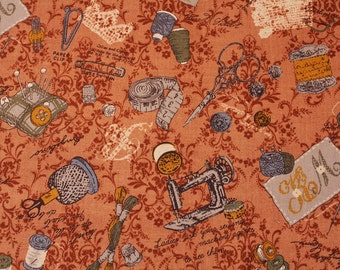 Vintage Sewing Kit printed Fabric made in Japan, Le Marche de Mercerie printed by Lecien / Half Yard