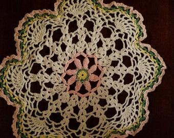crotchet doilie pink yellow green