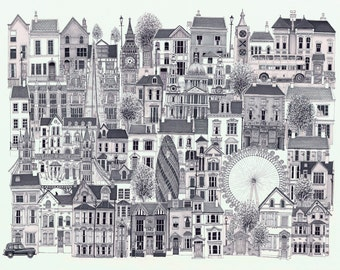 Signed fine art print called 'London Town' - from an original artwork by Andy Urwin