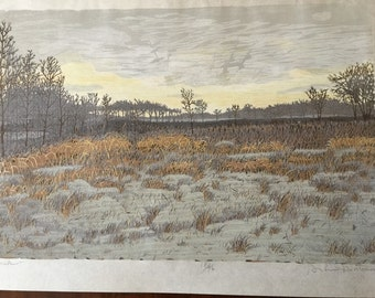Artist Gordon Mortensen,DUSK, Reduction Woodcut 18/46, 1974