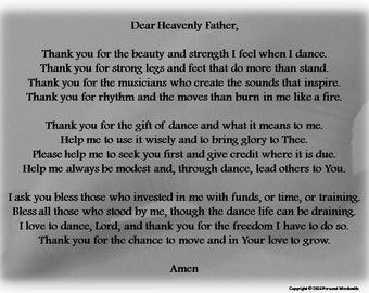 The Dancer's Prayer Digital Print, Dancer's Poem Download, Christian Dancer's Prayer Digital Download, Dance Prayer Rhyming Poem