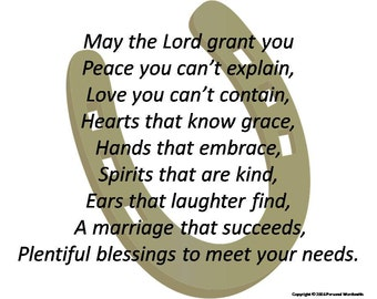 Irish Inspired Wedding Blessing Print Marriage Poem Toast Downloadable