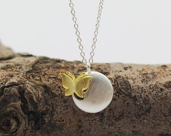 sterling silver butterfly necklace, sterling silver circle necklace, sterling silver round necklace, butterfly necklace, nature jewelry
