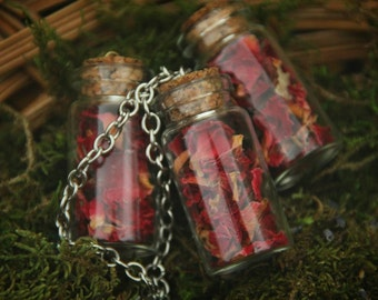 Witch chain with dried rose petals