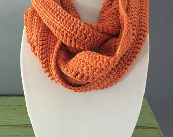 Burnt Orange Crochet Infinity Scarf