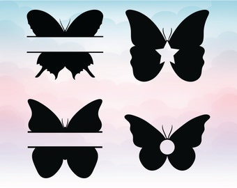 Butterflies Monogram Frame SVG, Set of 4 butterfly, Studio 3, DXF, EPS, png, cut file for cricut, Cutting Files for Silhouette Cricut