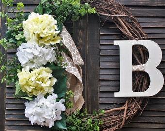 Yellow and White Hydrangea Wreath